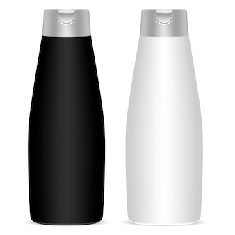 Garrafas cosméticas brancas pretas ajustadas. maquete de vetor