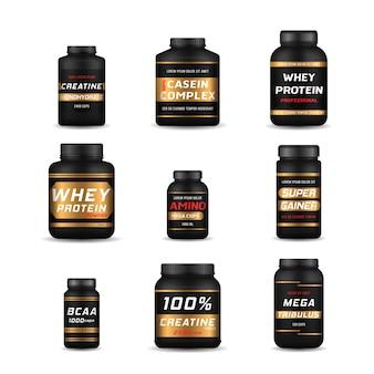 Garrafas de alimentos esportivos e barras de proteínas com baixo teor de açúcar. nutrição fitness, vitaminas, l-carnitina, cápsulas de caseína e hidro soro. musculação