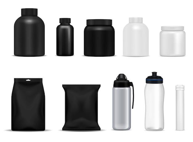 Garrafas de bebida fitness esporte nutrição proteína recipientes pacotes preto branco metal plástico realista conjunto isolado