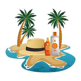 Garrafas de bronzeador de chapéu e sol verão