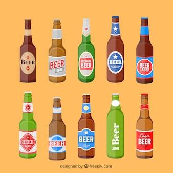 Garrafas de cerveja definir com etiqueta
