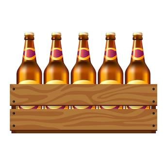 Garrafas de cerveja na caixa de madeira