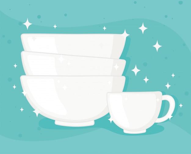 Garrafas de copos de plástico ou vidro, tigelas de porcelana e ilustração vetorial de xícara