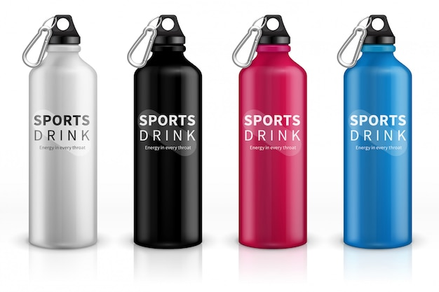 Garrafas de esportes em aço inoxidável. balão de metal reutilizável para bebidas. 3d