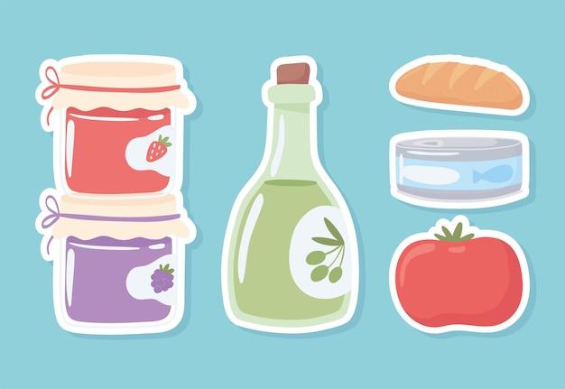 Garrafas de mantimentos e comida