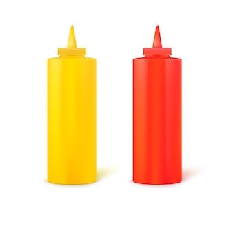 Garrafas de mostarda e ketchup