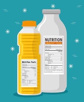 Garrafas de óleo e leite com informações nutricionais