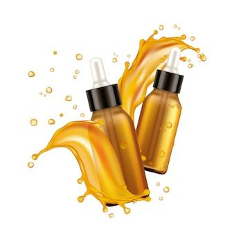 Garrafas de óleo essencial. suporte cosmético realista, salpicos de óleo e gotas no fundo branco