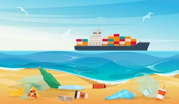 Garrafas de plástico, sacos de lixo orgânico e outro lixo na areia da praia. ilustração vetorial