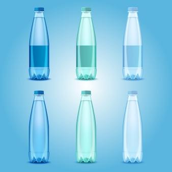 Garrafas de plástico transparente realista de vetor com modelos de água mineral