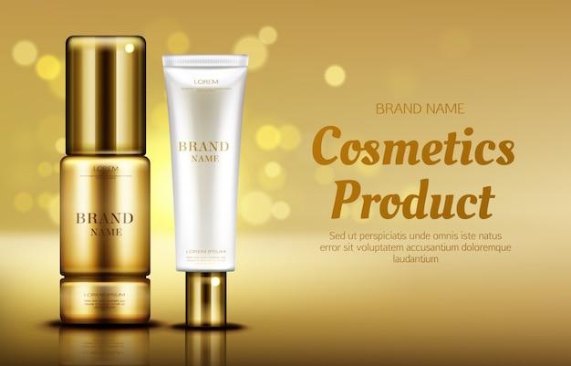 Garrafas de produtos de beleza cosméticos com bokeh