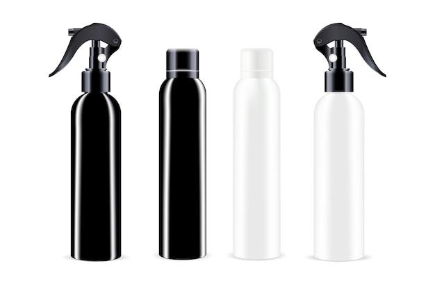 Garrafas de spray na cor preto e branco