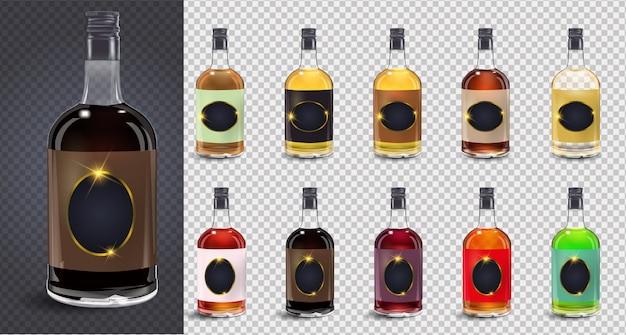 Garrafas de vidro ou ícones de vidro em fundo transparente. garrafa de vinagre de vinho de vidro com tampa de plástico e rótulo em branco. ilustração. coleção de garrafas de vidro