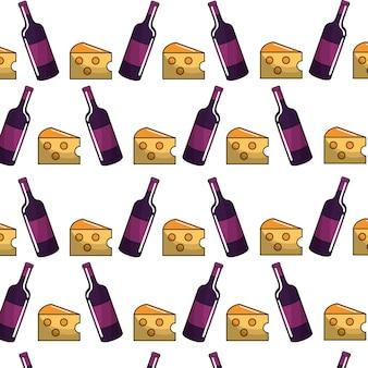 Garrafas de vinho com queijo backgroud ícone