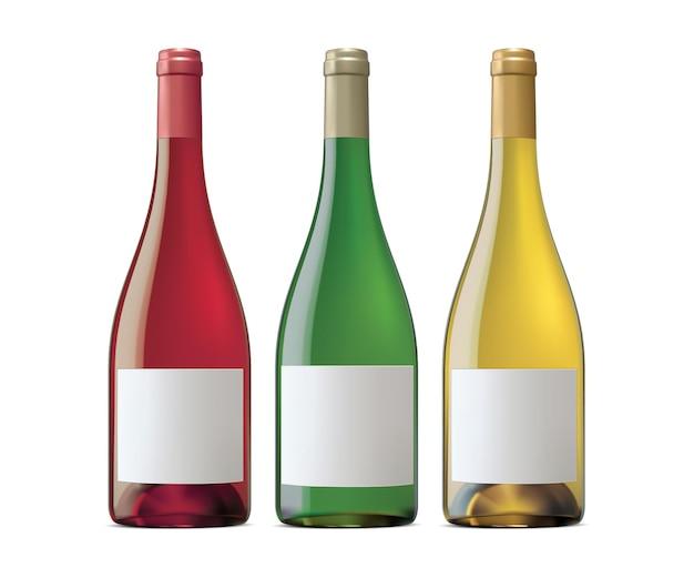 Garrafas de vinho da borgonha.