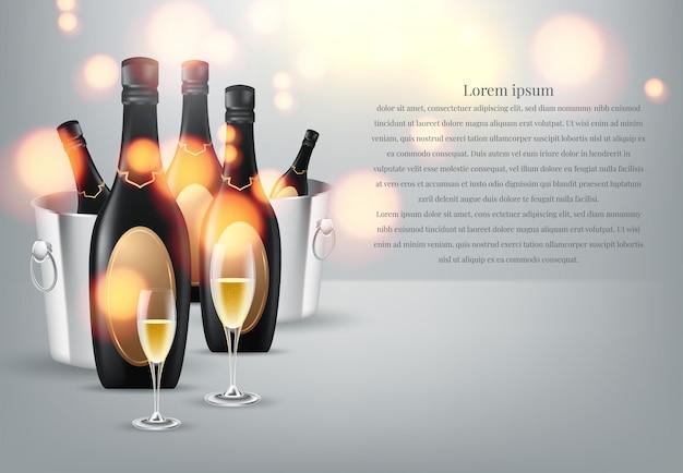 Garrafas de vinho de copo de vinho e champanhe