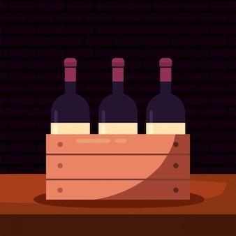 Garrafas de vinho dentro da caixa