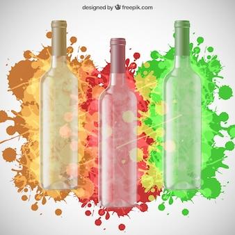 Garrafas de vinho e respingos de tinta coloridas