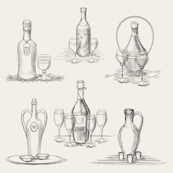 Garrafas de vinho e taças de vinho desenhadas à mão