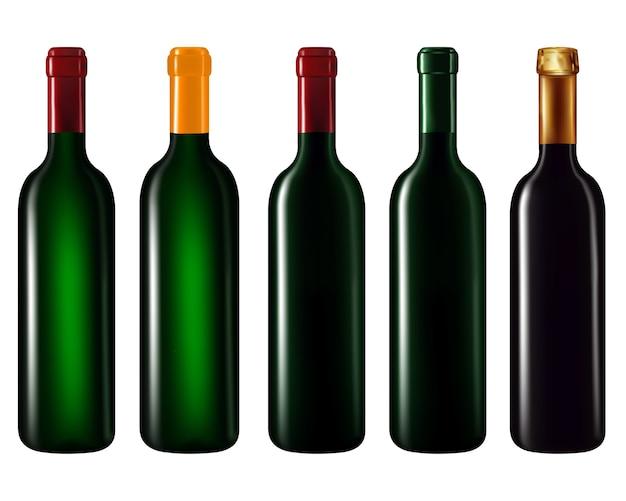 Garrafas de vinho em linha