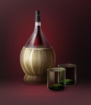 Garrafas de vinho fiasco de vetor e duas taças cheias isoladas em fundo vermelho escuro