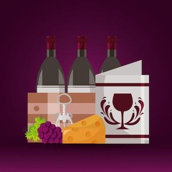 Garrafas de vinho menu de cesta de madeira queijo uvas saca-rolhas