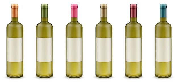 Garrafas de vinho realistas com rótulo em conjunto de cores diferentes.