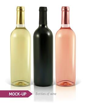 Garrafas de vinho realistas em um fundo branco com reflexo e sombra