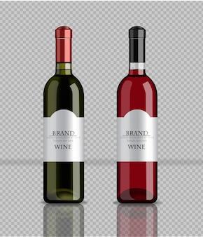 Garrafas de vinho realistas mock up