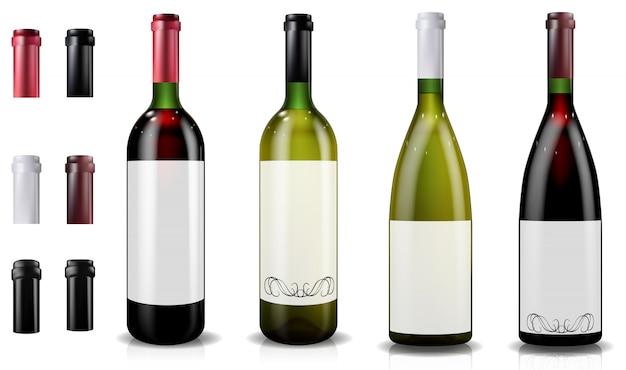 Garrafas de vinho tinto e branco. bonés ou mangas, fechando a tampa.