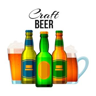 Garrafas e copos com cerveja artesanal e texto em inglês