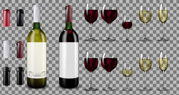 Garrafas e copos de vinho tinto e branco. realista