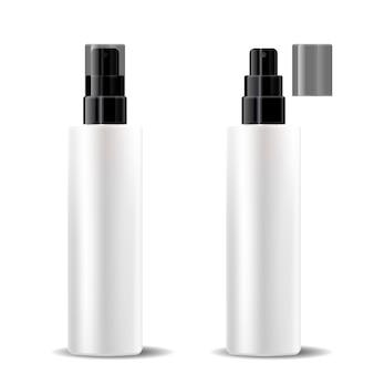 Garrafas plásticas brancas ajustadas com a tampa preta lustrosa da bomba de pulverizador do distribuidor.