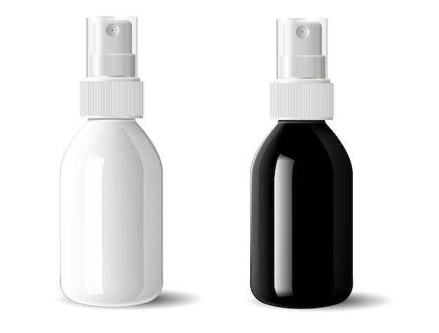 Garrafas plásticas de vidro preto e branco realísticas