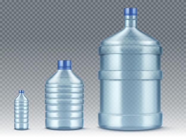 Garrafas plastik, pequenas e grandes para a água realistas