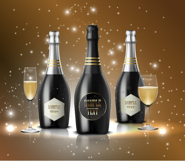 Garrafas pretas realistas de champanhe
