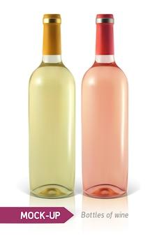 Garrafas realistas de vinho branco e rosa em um fundo branco com reflexo e sombra