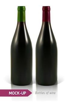 Garrafas realistas de vinho branco e tinto com reflexão e sombra. modelo de design de rótulo de vinho.