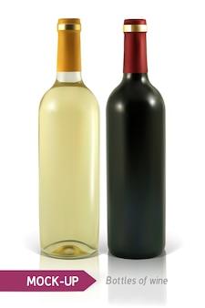 Garrafas realistas de vinho branco e tinto em um fundo branco com reflexão e sombra. modelo para rótulo de vinho.