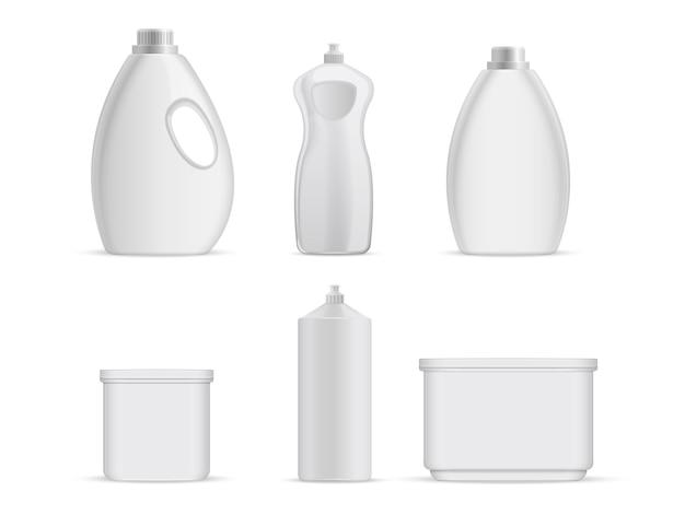 Garrafas vazias plásticas sanitárias com líquidos químicos para serviços de limpeza.