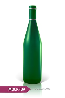 Garrafas verdes realistas de vinho ou coquetel com reflexo e sombra. modelo de design de etiqueta.