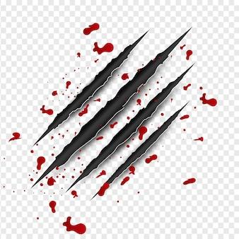 Garras arranhões com sangue vermelho