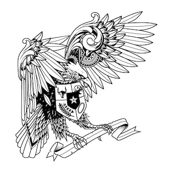 Garuda doodle ornament ilustração, tatuagem e tshirt design