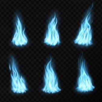 Gás e chamas de fogo azul realistas, ícones do vetor de labareda de energia luminosa. gás azul ou chamas de fogo com efeito de brilho, fumaça de explosão e sinalizadores em chamas ou bolas de fogo azuis em plano de fundo transparente