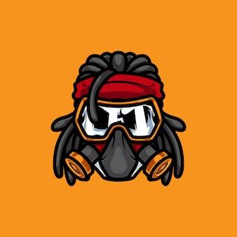 Gas mask rocker mascot logo