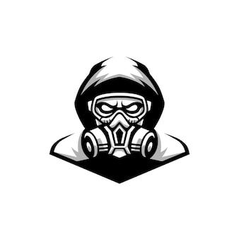 Gask mask design preto e branco