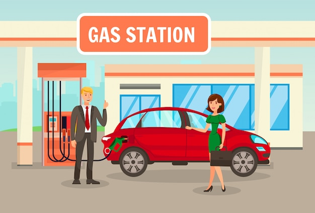 Gasolina, enchimento, ilustração vetorial de posto de gasolina