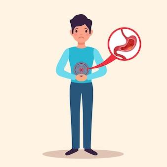 Gastrite crônica jovem paciente do sexo masculino personagem plana com inflamação aguda demonstrada do revestimento do estômago inchado