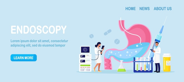 Gastroenterology. pequenos médicos diagnósticos da doença estomacal usando endoscopia. estômago humano com endoscópio dentro. exame do sistema do trato
