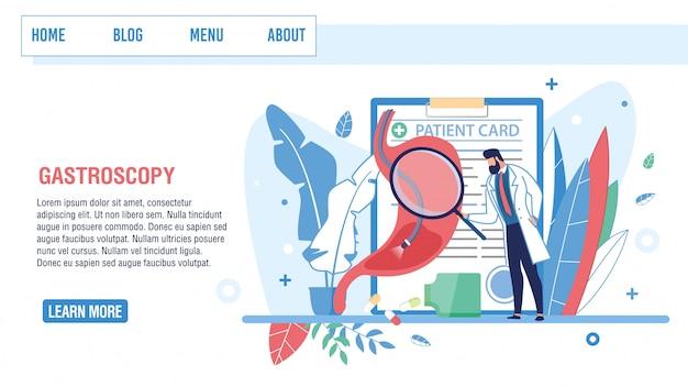 Gastroscopia da oferta da página de destino para exame médico